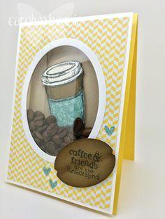 Perfect Blend Coffee Bean Shaker Card by Carolyn Bennie Independent Stampin' Up! Demonstrator Australia - carolynbennie.com