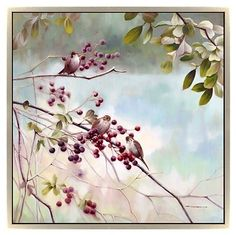 Brown birds and ruby berries pop against a soft-focus background in this gorgeous wall art. The champagne frame adds a subtle note of elegance.