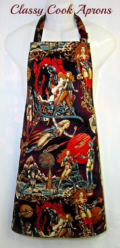 Apron Mans, SciFi PINUPS, GALACTICA Valkyrie, WOMEN Warriors, by ClassyCookAprons, , $35.50