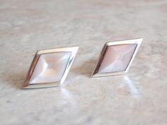 Mother of Pearl Studs Sterling Silver Pink MOP Diamond Shape Vintage 052314BKH by cutterstone on Etsy #diamondshapestuds #pinkmotherofpearl #sterlingsilver #vintageearrings