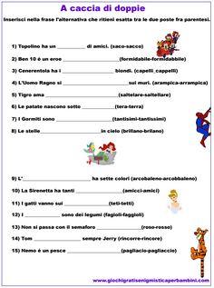 Kids Homework, Italian Language, Learning Italian, Friends Tv, Primary School, Problem Solving, Grammar, Worksheets, Homeschool