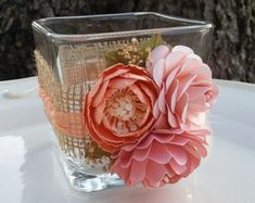 Paper Flowers - Candle Holder - Burlap Vase - Altered Jar - Wedding decorations - Table Setting - Coral and Pink - CUSTOM ORDER