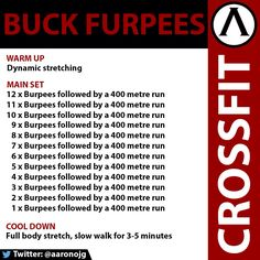 CrossFit WOD. Buck Furpees. Challenges your cardio and endurance. Embrace the hurt.