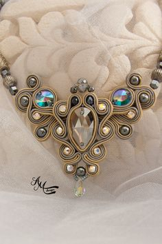 Beige Soutache Necklace Handmade Swarovski by AMdesignSoutache Soutache Necklace, Diy Necklace, Necklace Ideas, Handmade Necklaces, Handmade Jewelry, Unique Jewelry, Soutache Tutorial, Beaded Jewelry Designs, Embroidery Jewelry