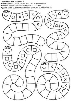 Snake tracing pattern page Preschool Learning Activities, Kindergarten Worksheets, Preschool Activities, Kids Learning, Learning Letters, Teaching Math, Math Patterns, Doily Patterns, Dress Patterns