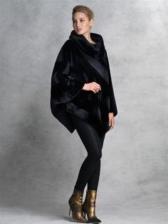 Dyed Black Sheared Mink poncho #stylish #coat #fur #outwear at Flemington Furs - available online at FlemingtonFurs.com
