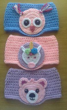 New crochet kids headbands pattern ear warmers Ideas Bandeau Crochet, Crochet Headband Pattern, Knitted Headband, Crochet Headbands, Crochet Gifts, Crochet Yarn, Crochet Panda, Knitting Patterns, Crochet Patterns