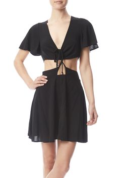 Black woven dress with short flutter sleeves, midriff cut out, slit back and a nape button and hidden zipper closure.  Woven Cut-out Dress by Cotton Candy LA. Clothing - Dresses - Casual Florida