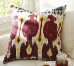 We love the bold motif and saturated hues of this Zoe Ikat Pillow Cover made of pure cotton from Central Asia! Pottery Barn
