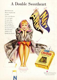 cigarette Old Gold advertising Vintage Cigarette Ads, Pin Up, Old School, Illustrators, Classic Style, Advertising, Princess Zelda, Poster, Image