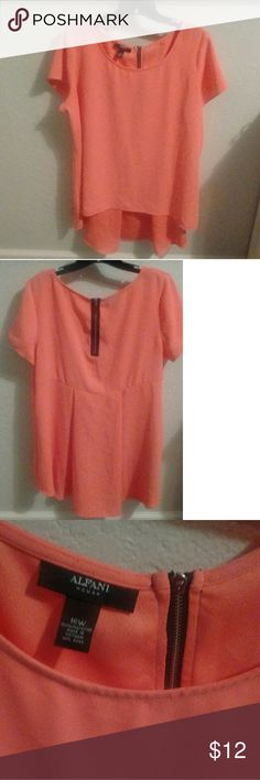 Alfani Hi-Low Tunic/Blouse Alfani Hi-Low Long Blouse or tunic with rounded neck, cap sleeves, & black zipper. Blouse is higher in the front than on the back.   Size 16W Color: Peach Alfani Tops
