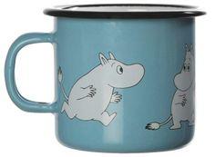 Muumi Emalimuki / Moomin Enamel Mug Retro. Moomin Mugs, Tove Jansson, Enamel, Retro, Tableware, Inspiration, Cl, Light Blue, Dishes