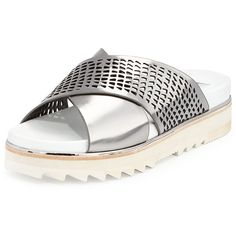 Dolce Vita Shaye Metallic Perforated Sandal ($46) ❤ liked on Polyvore featuring shoes, sandals, silver, high heel shoes, open toe sandals, metallic shoes, high heel sandals and leather slip on sandals