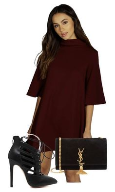 """""""428.Lady In Red"""" by theofficialfashiondreamer on Polyvore featuring Boohoo, Yves Saint Laurent, women's clothing, women, female, woman, misses and juniors"""
