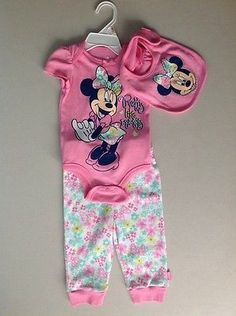 Nwt-Baby-Girls-Disney-Minnie-Mouse-Bodysuit-Pants-Bib-3-Pc-Outfit-6-9M