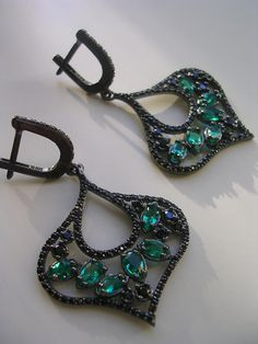 EKATERINA EARRING vintage antique inspired green by FIGistanbul, $69.99