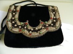 Lovely Vintage Black Velvet Purse with Heavy Gold Embroidery with Beads, India, 1970's - 1980's
