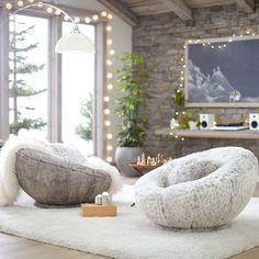 Tipped Faux-Fur Groovy Swivel Chair #pbteen