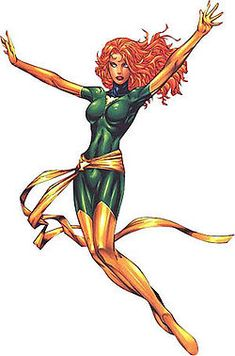 """Jean Grey-Summers is a fictional character, a comic book superheroine appearing in comic books published by Marvel Comics. She has been known under the aliases Marvel Girl, Phoenix, and Dark Phoenix and is best known as one of the founding members of the X-Men, for her relationship with Cyclops, and for her central role and transformation in the classic X-Men storyline """"The Dark Phoenix Saga""""."""