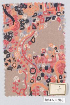 Gustav Klimt for Wiener Werkstätte - Textile Design - 1920 Textiles, Textile Patterns, Textile Design, Textile Art, Print Patterns, Gustav Klimt, Klimt Art, Art Nouveau, Baumgarten
