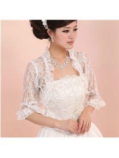 3/4 Sleeve Fantastic White Lace Wedding Bolero Jacket with Floral edge(21205) Bendigo