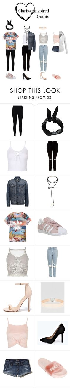 """""""Clarisse Inspired outfits"""" by screamqueengabi ❤ liked on Polyvore featuring Boohoo, WithChic, New Look, Miss Selfridge, adidas, River Island, Topshop, Liliana, ASOS and Hollister Co."""