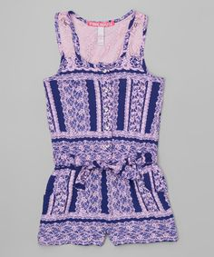 Look at this Blue & White Lace Racerback Romper - Infant, Toddler & Girls on #zulily today!