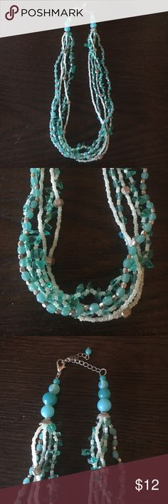 Blue beaded statement necklace This blue beaded statement necklace is very spring/summer and is in great condition. It has been worn 2 times. Jewelry Necklaces