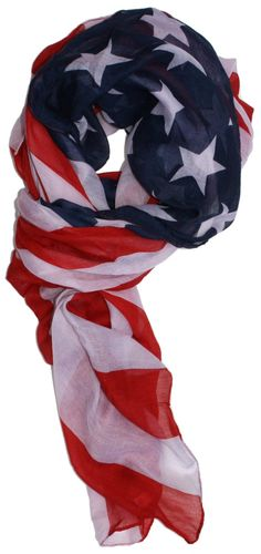 Amazon.com: LibbySue-Patriotic, Red, White and Blue American Flag Scarf: Clothing
