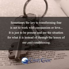 """Sometimes the key to transforming fear is not to work with compassion or love...It is just to be present and see the situation for what it is instead"