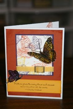 OSW Butterflies 10  Stamps: on gossamer wings Paper: rust, artichoke, ww, summer, vellum Ink: eggplant, summer, rust, artichoke, versamark Accessories: silver buckle (used gold alcohol ink to change to gold), embossing powders, markers, ribbon