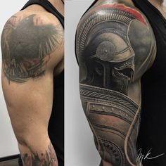 Cover Up Roman Tattoo Tattoo Knight, Armor Tattoo, Cover Up Tattoos For Men, Tattoos For Women, Tattoos For Guys, Tribal Tattoo Cover Up, Shoulder Cover Up Tattoos, Cover Tattoos, Gladiator Tattoo
