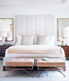 elegant bed, in love with pink velvet benches