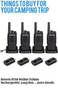 (This is an affiliate pin) Retevis RT68 Walkie-Talkies Rechargeable, Long Range 2 Way Radio,Two Way Radio Long Distance, FRS VOX Handsfree Mini Small, for Adults Hunting Camping Events Plan(4 Pack)