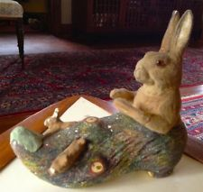 Rare Early German Easter candy container- Mama bunny rabbit on log with babies