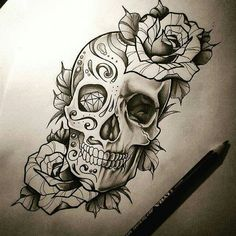 Feminine Skull Tattoos, Sugar Skull Tattoos, Tattoo Design Drawings, Skull Tattoo Design, Skull Stencil, Skull Art, Rose Tattoos, Body Art Tattoos, Ozzy Tattoo
