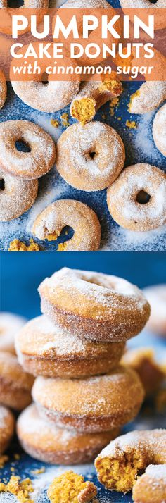 Pumpkin Cake Donuts - The MOST HEAVENLY pumpkin donuts! So moist, they just melt-in-your mouth! Coated in melted butter and cinnamon sugar. It's perfection! Pumpkin Recipes, Fall Recipes, Holiday Recipes, Pumpkin Cakes, Summer Recipes, Churros, Donut Recipes, Cooking Recipes, Keto Recipes