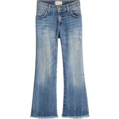 Current/Elliott Cropped Flare Jeans ($309) ❤ liked on Polyvore featuring jeans, pants, blue, ripped blue jeans, flared jeans, distressed cropped jeans, blue jeans and torn jeans