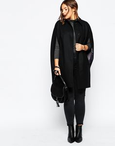Obsessed with cape coats. I need a pair of long leather gloves to go with it, too!