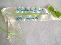 Hímzett esküvői vőfélyszalag - színes