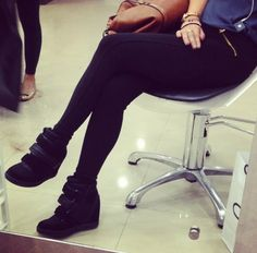 Pair black wedge sneakers(aldo) with black jeggings(zara) for a chic yet casual day outfit.