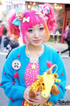 Pink & Orange Hair, 6%DOKIDOKI giraffe-backpack, Sweet Accessories from Party Baby and Milky Way, dress from The Gap.