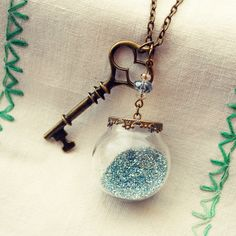 Glass Globe Necklace with Blue Glitter, Key and Glass Beads by Dear Delilah