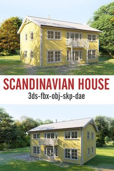 A 3d model of a typical scandinavian house is available on cg-trader. The house has approx. 26.500 polygons and are available in 3ds, fbx, ocj, skp and dae formats. Materials are included and are nameed with descriptive names for easy use.