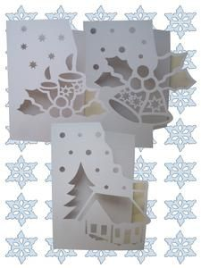 OVER THE EDGE CHRISTMAS SET SVG on Craftsuprint designed by Apetroae Stefan - A set of 3 of my christmas over the edge cards, in svg format, with optional backing plates - Now available for download!