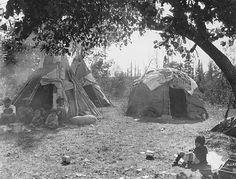 Dakota-style tipis and Ojibwe wigwam, White Earth, Minnesota, 1928