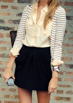 Skirt, button-down, striped cardigan.