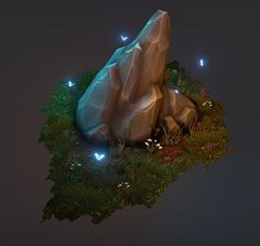Diorama of a rock formation found in a forest clearing. All hand painted diffuse maps with use of normal and specular maps. Rendered in Unreal Engine 4.