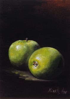 Original art for sale at UGallery.com | Green Apples by Nina R Aide | oil painting | 7' h x 5' w