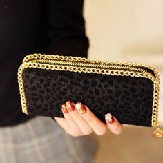 Size: Fashionable and practical a small wallet Bag In the long wallet, square cross section, a simple atmospheric style Enough to fit for your various dress It can be clutch bag and wallet Wallet Chain, Long Wallet, Black Wallet, Small Wallet, Card Wallet, Clutch Wallet, Leather Clutch, Leather Men, Leopard Clutch